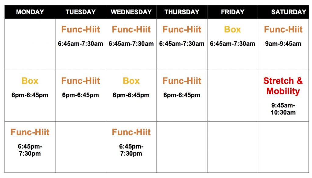 Gym Class Timetable